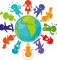silhouettes children world vector image