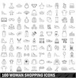 100 woman shopping icons set outline style vector image vector image