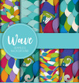 abstract wave seamless pattern collection set vector image