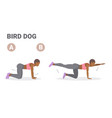 african american woman doing bird dog exercise vector image