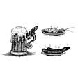 beer beer mug sausage omar objects vector image
