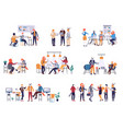 collection of scenes at office bundle of men and vector image