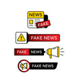 collection warning sign with fake news text vector image vector image