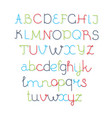 colorful rounded line font - thin vector image vector image