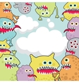 Cute monsters banner cloud shape vector image vector image