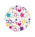 cute pattern with hearts and flowers vector image