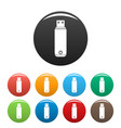 digital flash drive icons set color vector image vector image