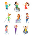 disabled people wheelchair for kids children vector image vector image