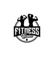fitness club designs with exercising athletic man vector image vector image