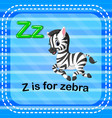 flashcard letter z is for zebra vector image vector image