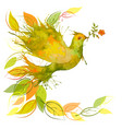 flying green dove with fall leaves vector image