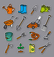 garden tools stickers vector image