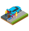 isometric concept family car traveling people vector image vector image