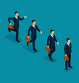 isometric set 3d businessmen business scene vector image vector image