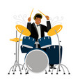 jazz drummer playing isolated on white background vector image vector image