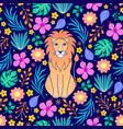 lion and tropical flowers on dark background vector image vector image
