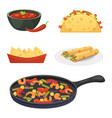 mexican cuisine cartoon dishes set vector image