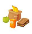 paper bag package with healthy breakfast orange vector image vector image