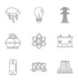 power generation icon set outline style vector image vector image
