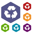 Recycling rhombus icons vector image vector image