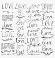 set hand-written words love lettering vector image vector image
