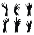 set hand zombies crawling out ground vector image vector image