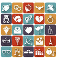 set love and romantic flat icons vector image