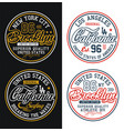 set typography california brooklyn for t-shirt vector image vector image