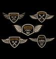 set vintage winged emblems racing motorcycles vector image
