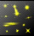 set yellow lens flares yellow sparkles shine vector image