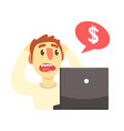 stressed cartoon man looking at his laptop vector image