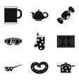 tea time icon set simple style vector image