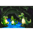 Three crocodile living in the cave vector image