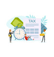 tiny people calculating document for taxes vector image