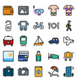 Traveling and transport icon set