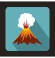 Volcano erupting icon flat style vector image