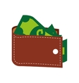 wallet money bills cash isolated vector image