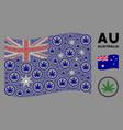 waving australia flag pattern cannabis items vector image vector image