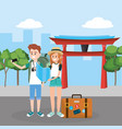 woman and man with smarphone in the chinese temple vector image
