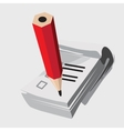 Notebook with red pencil icon closeup vector image
