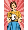 Retro waitress takes the order writes down meals vector image