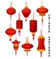 chinese new year red paper lanterns vector image