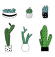 set of cute cartoon style colorful plant vector image