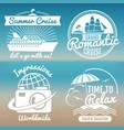 white vintage vacation logo set - summer travel vector image
