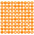 100 mens team icons set orange vector image vector image