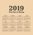 2019 year vintage calendar weeks start on monday vector image