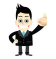 a businessman pointing finger first number one vector image