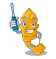 automotive steamed fresh raw shrimp on mascot vector image vector image