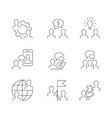 business cooperation line icons on white vector image vector image