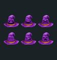 cartoon fantasy purple hat character vector image vector image